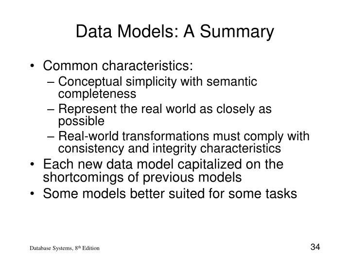 Data Models: A Summary