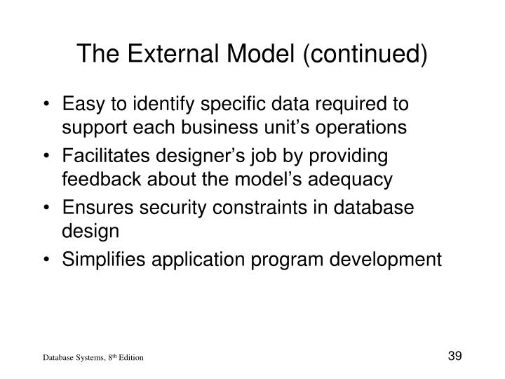 The External Model (continued)