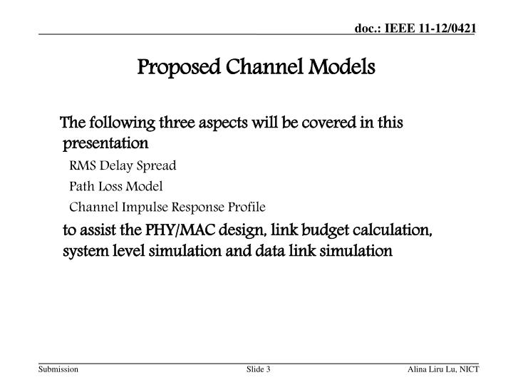 Proposed channel models