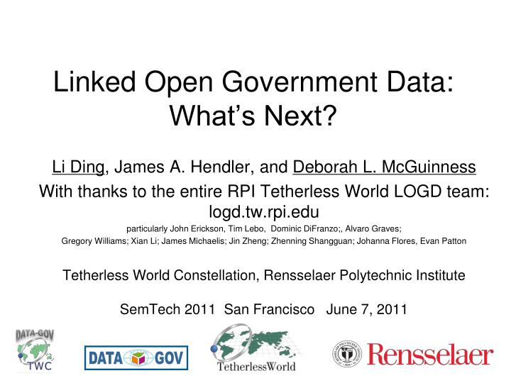 Linked open government data what s next