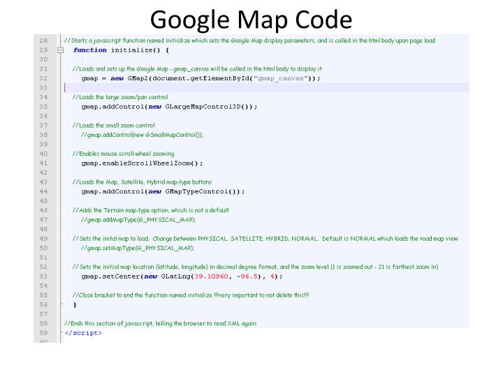 Google Map Code