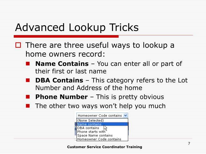 Advanced Lookup Tricks