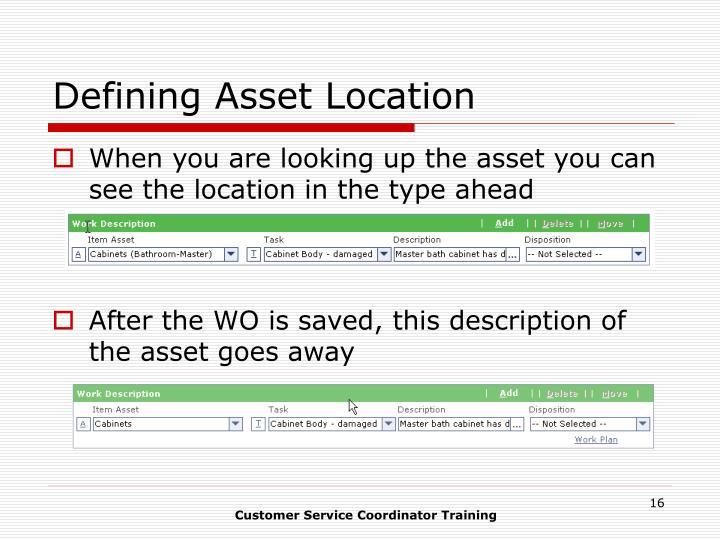 Defining Asset Location