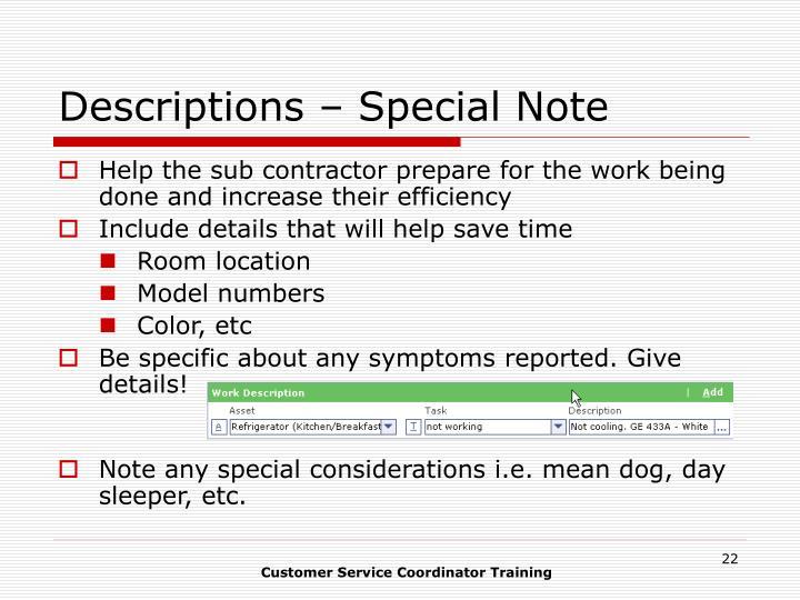 Descriptions – Special Note