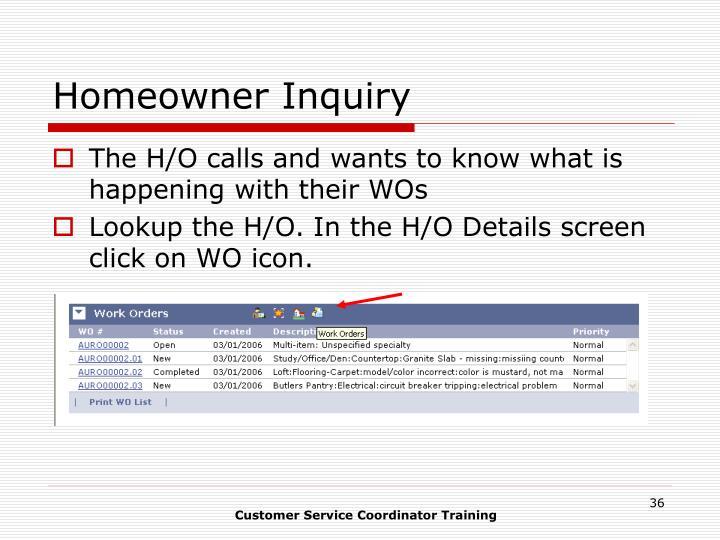 Homeowner Inquiry