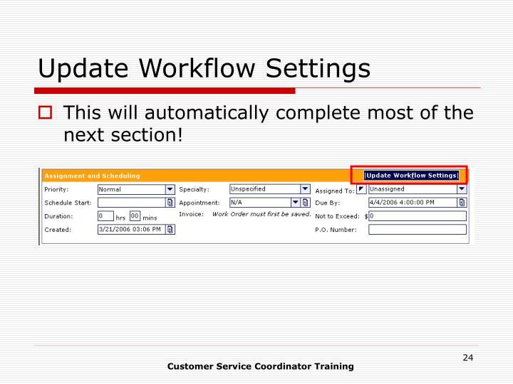 Update Workflow Settings