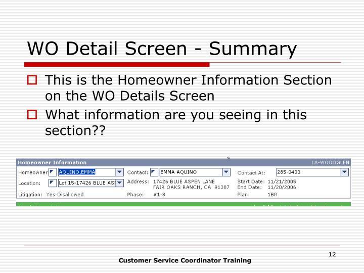WO Detail Screen - Summary