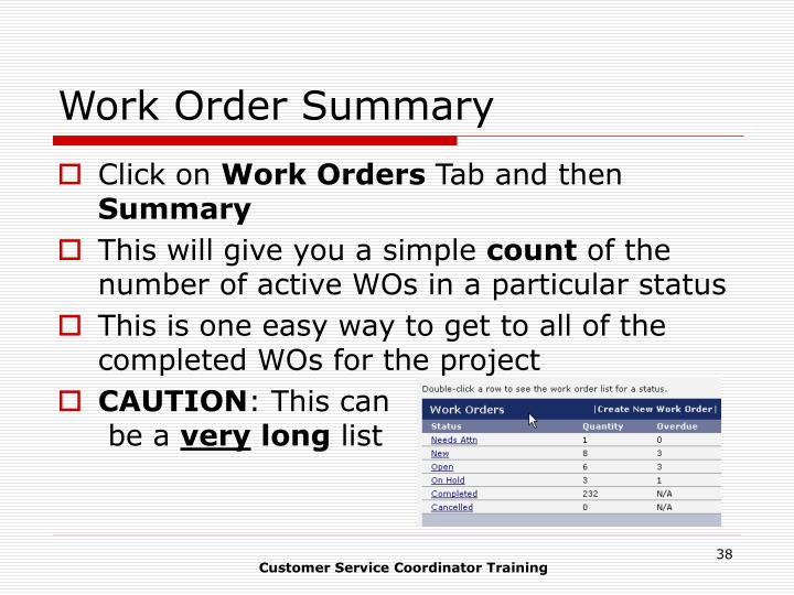 Work Order Summary