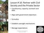 lesson 10 partner with civil society and the private sector