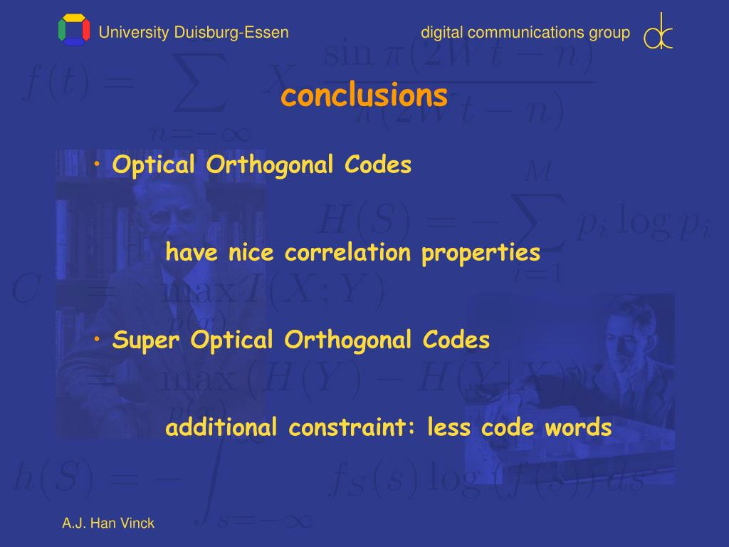 PPT - On Optical Orthogonal Codes PowerPoint Presentation
