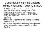 disciplines conditions standards normally required country roa