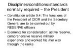 disciplines conditions standards normally required the president