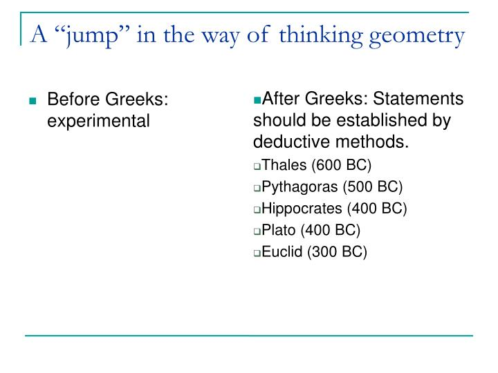 "A ""jump"" in the way of thinking geometry"