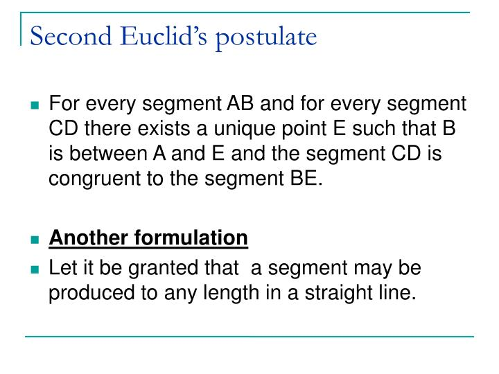 Second Euclid's postulate
