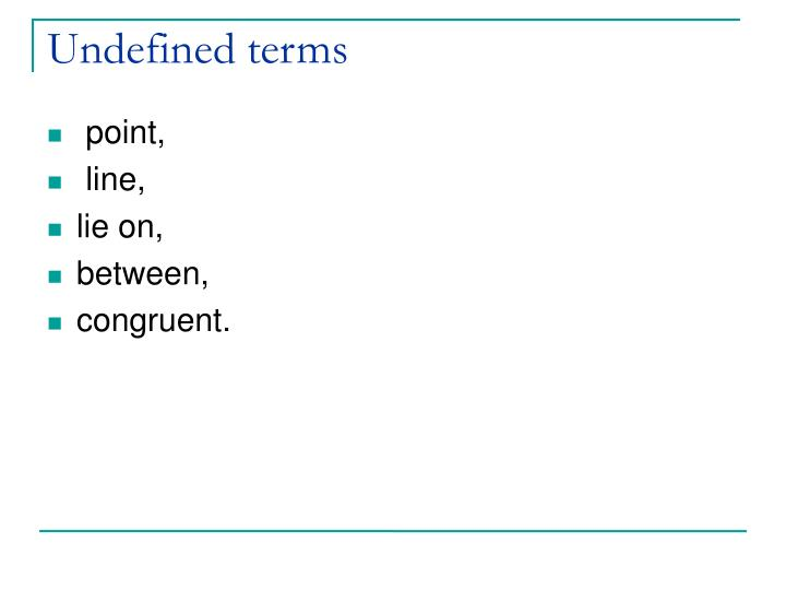 Undefined terms