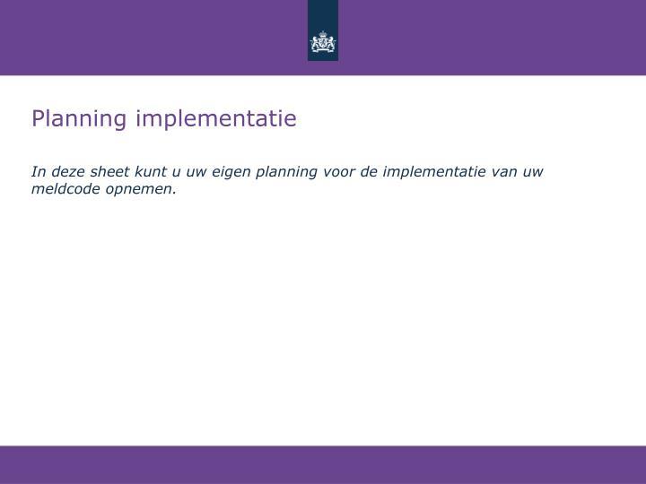 Planning implementatie