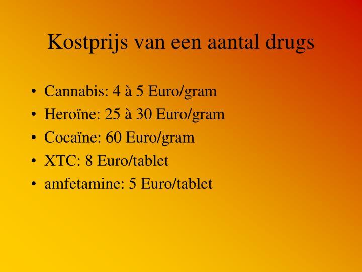 Kostprijs van een aantal drugs