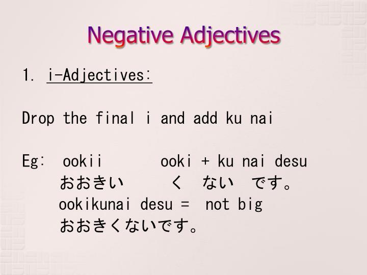 Negative Adjectives