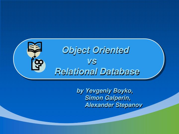 object oriented vs relational database n.