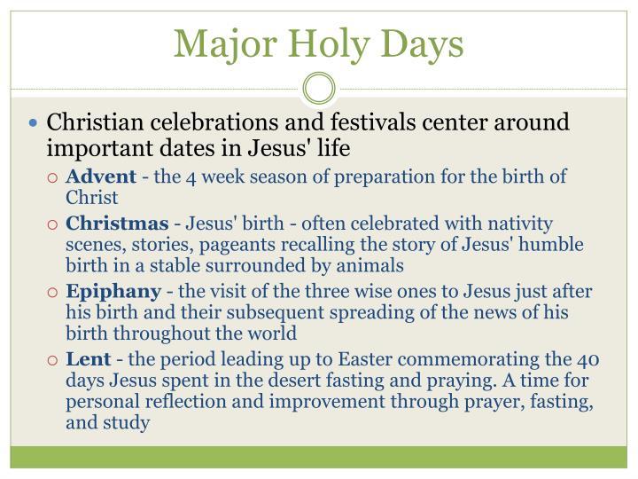 Major Holy Days