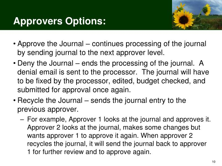 Approvers Options: