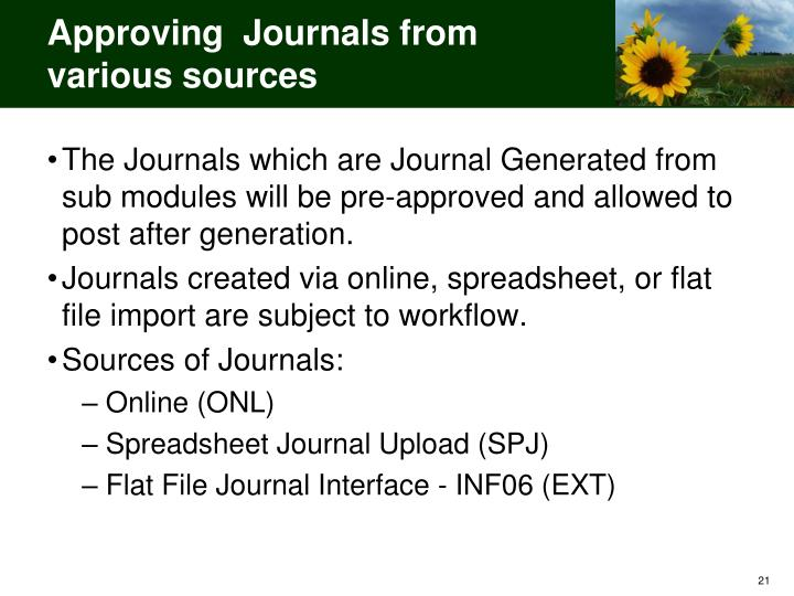 Approving  Journals from various sources