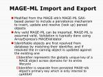 mage ml import and export