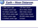 earth moon distances