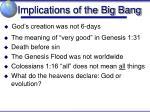 implications of the big bang