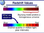 redshift values