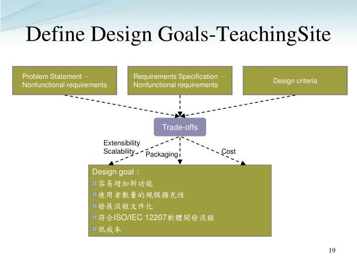 Define Design Goals-TeachingSite
