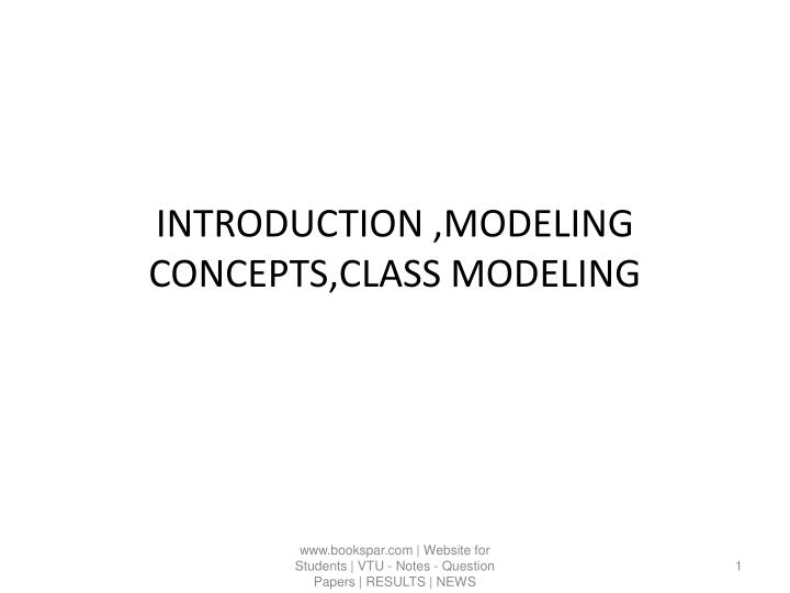 introduction modeling concepts class modeling n.