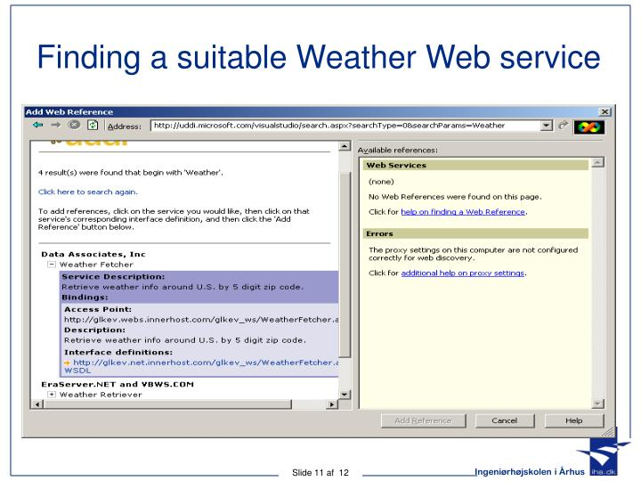 Finding a suitable Weather Web service