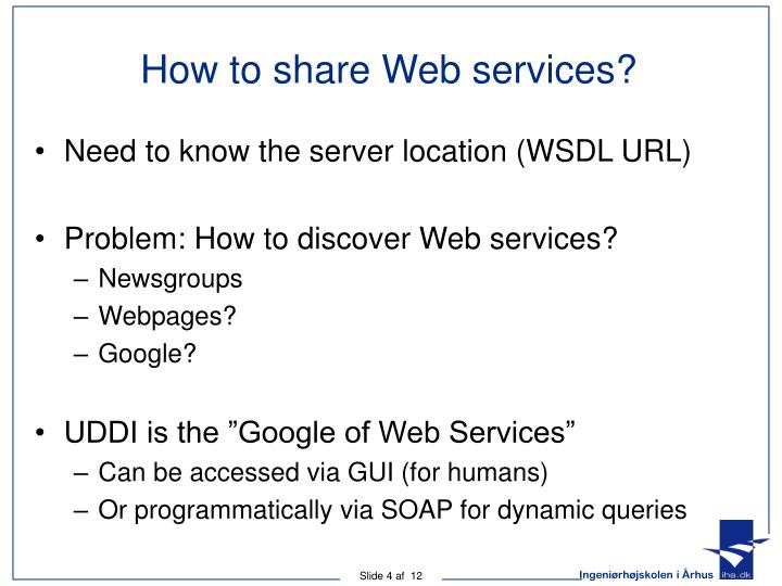 How to share Web services?