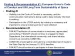 finding recommendation 1 european union s code of conduct and un long term sustainability of space