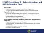 ltssa expert group b debris operations and ssa collaborative tools