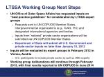 ltssa working group next steps