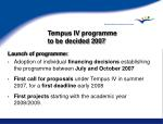 tempus iv programme to be decided 2007