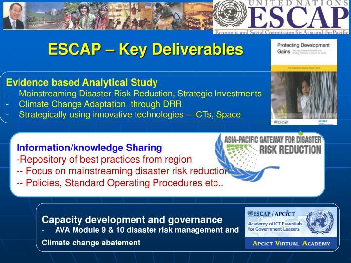 ESCAP – Key Deliverables