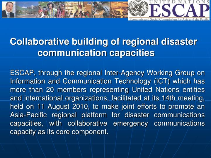 Collaborative building of regional disaster communication capacities