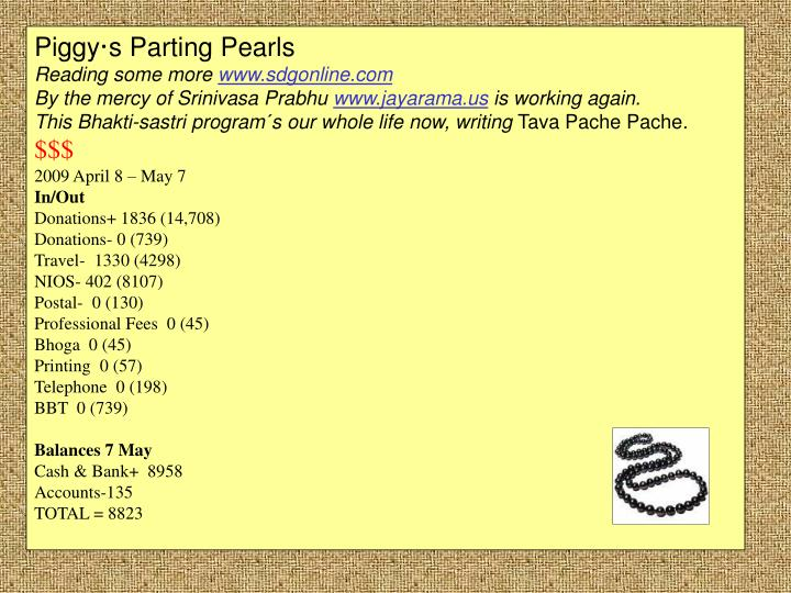 Piggy·s Parting Pearls