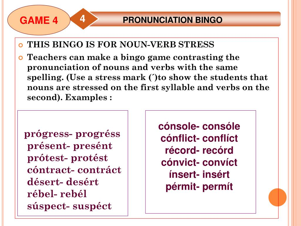 PPT - GAMES FOR TEACHING WORD STRESS AND INTONATION