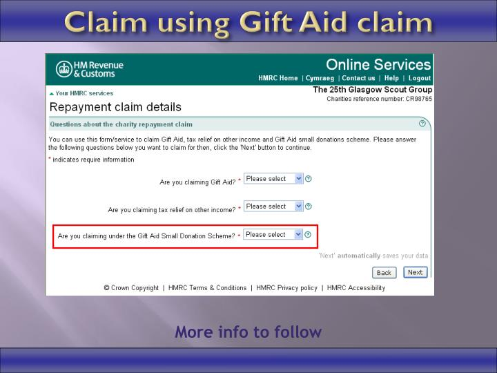 Ppt charities online new gift aid claim process powerpoint claim using gift aid claim negle Images