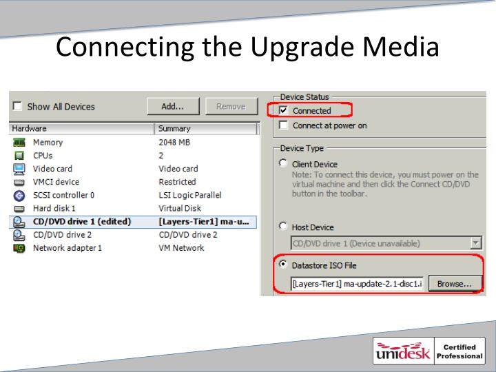 Connecting the Upgrade Media