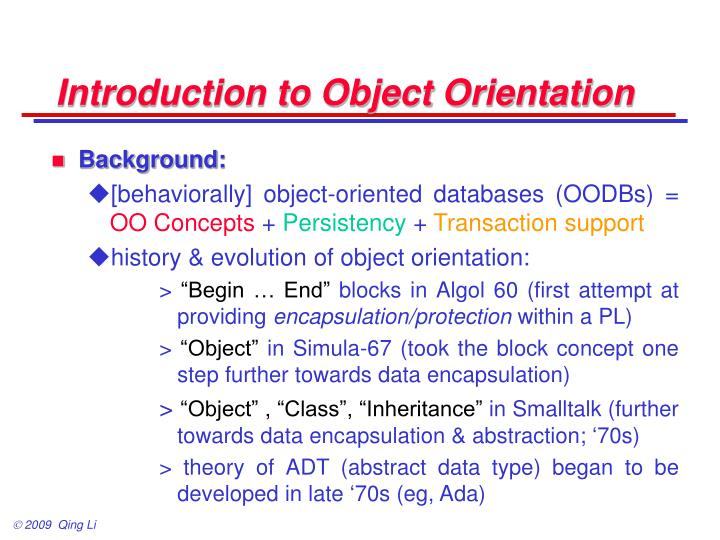 introduction to object orientation n.