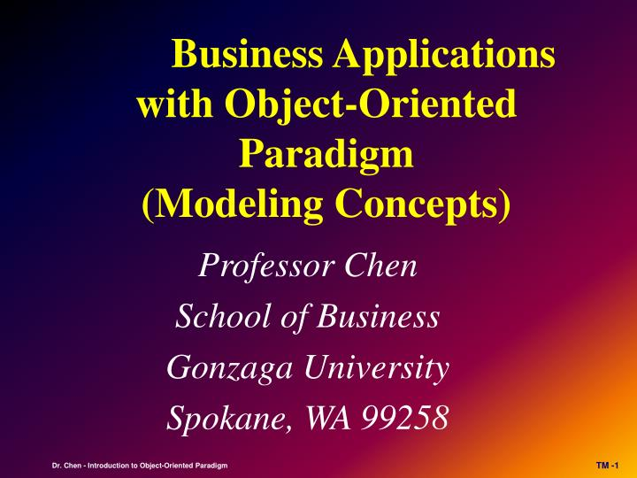 business applications with object oriented paradigm modeling concepts n.