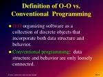 definition of o o vs conventional programming
