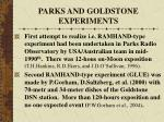 parks and goldstone experiments
