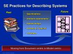 se practices for describing systems
