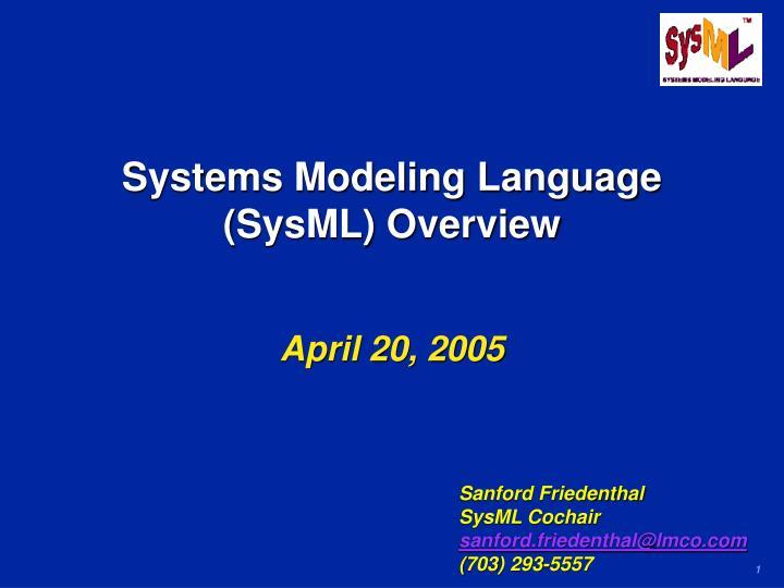 systems modeling language sysml overview n.